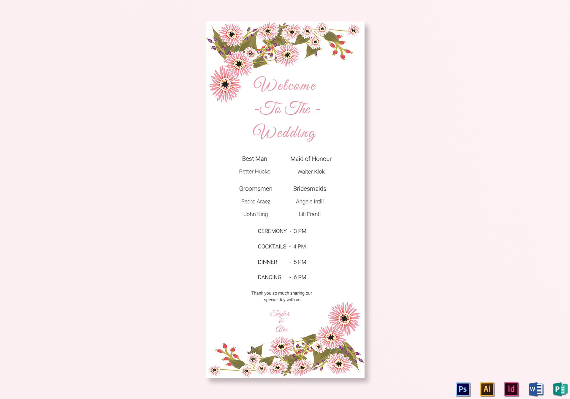 floral wedding program card design template in illustrator indesign