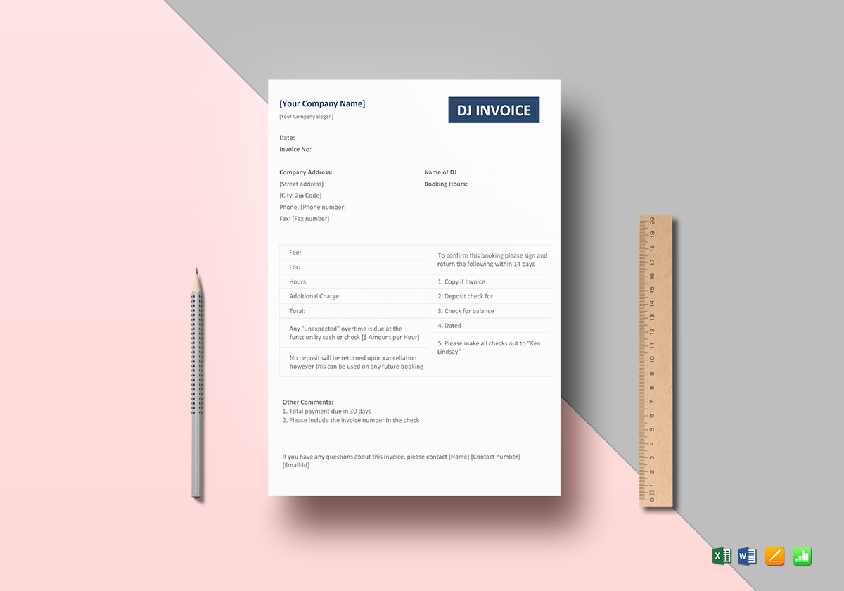 Dj Invoice Template In Word Excel Apple Pages Numbers