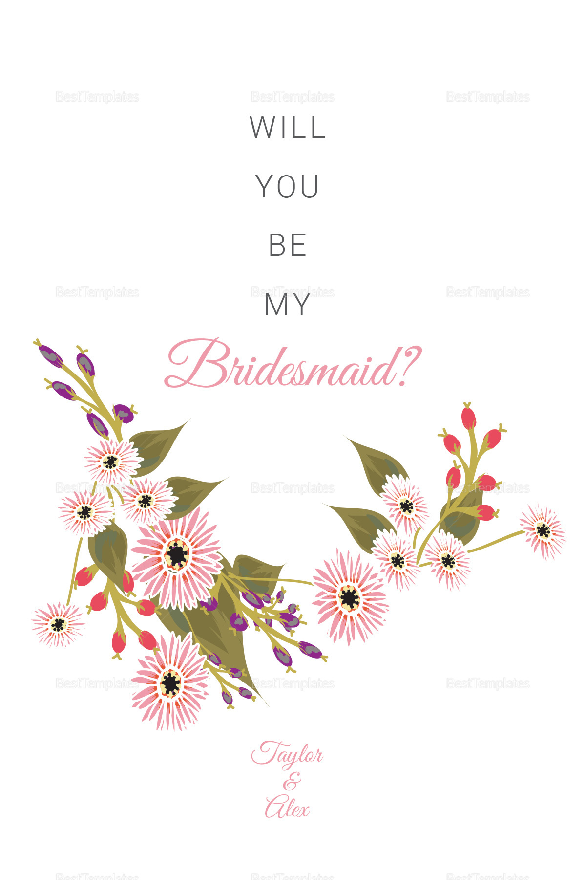 Will You Be My Bridesmaid Card Template