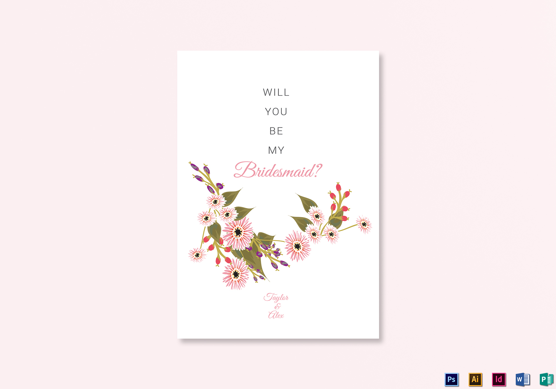Floral Will You Be My Bridesmaid Card Design Template In Illustrator