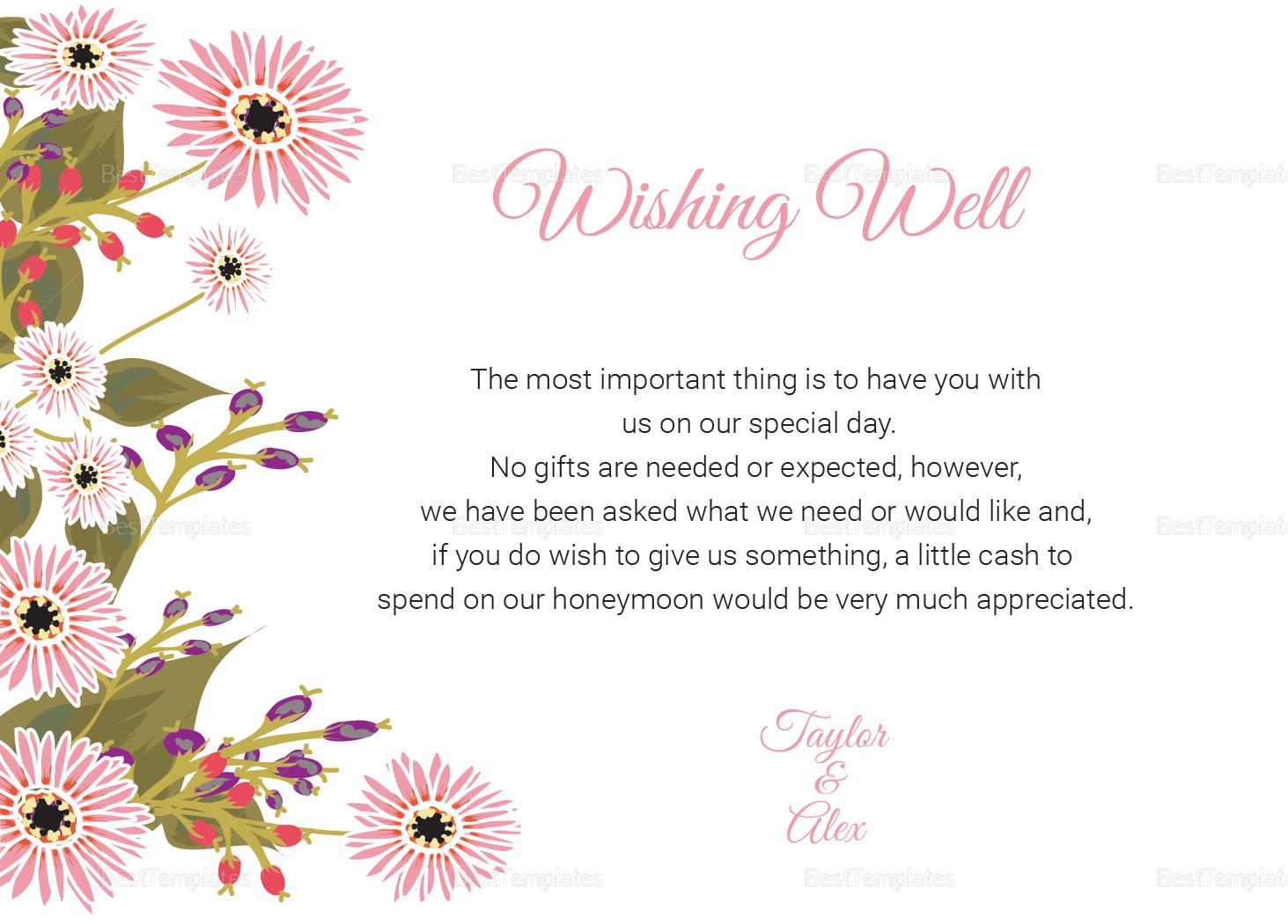 Wedding Wishing Well Card Template