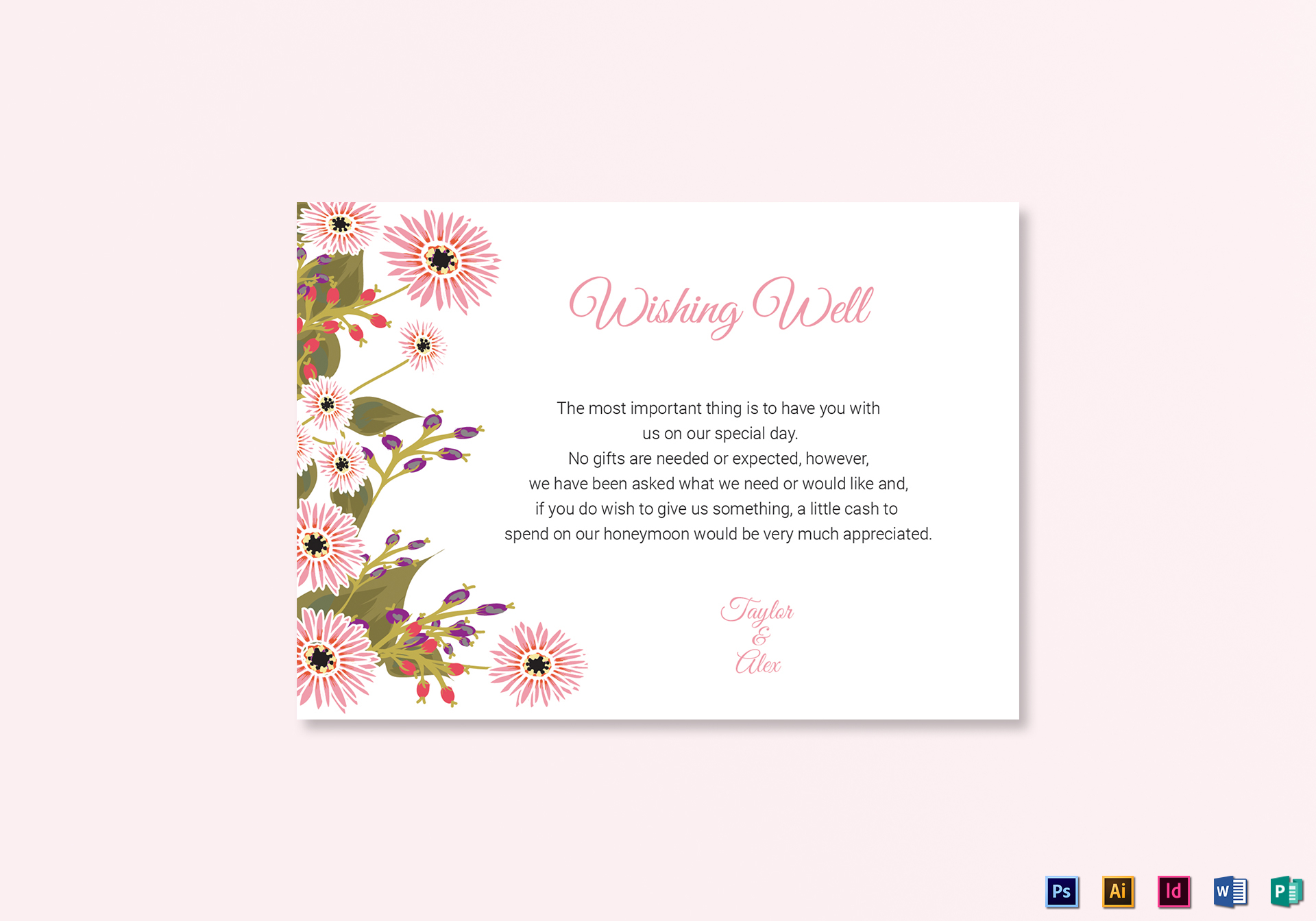 floral wedding wishing well card design template in illustrator