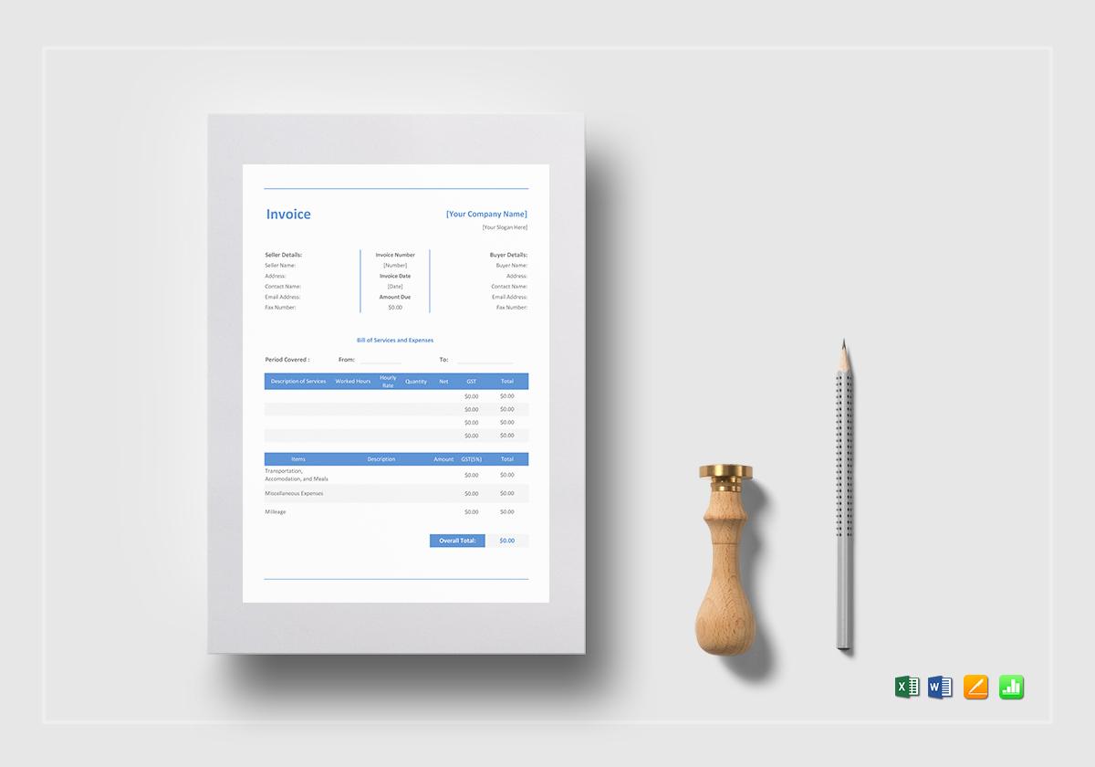 mock invoice template