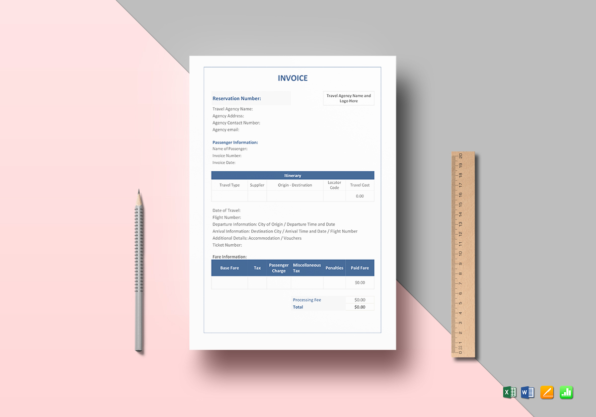 travel invoice template free invoice templates travel invoice format