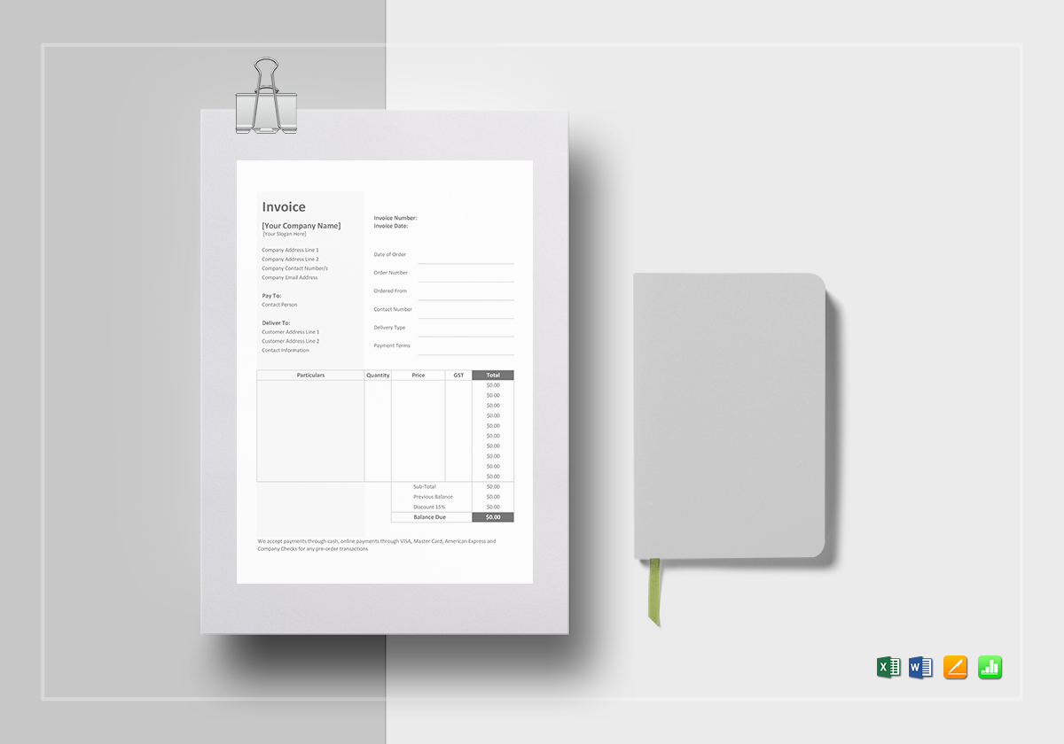 Bakery Invoice Template In Word Excel Apple Pages Numbers - Apple numbers invoice template