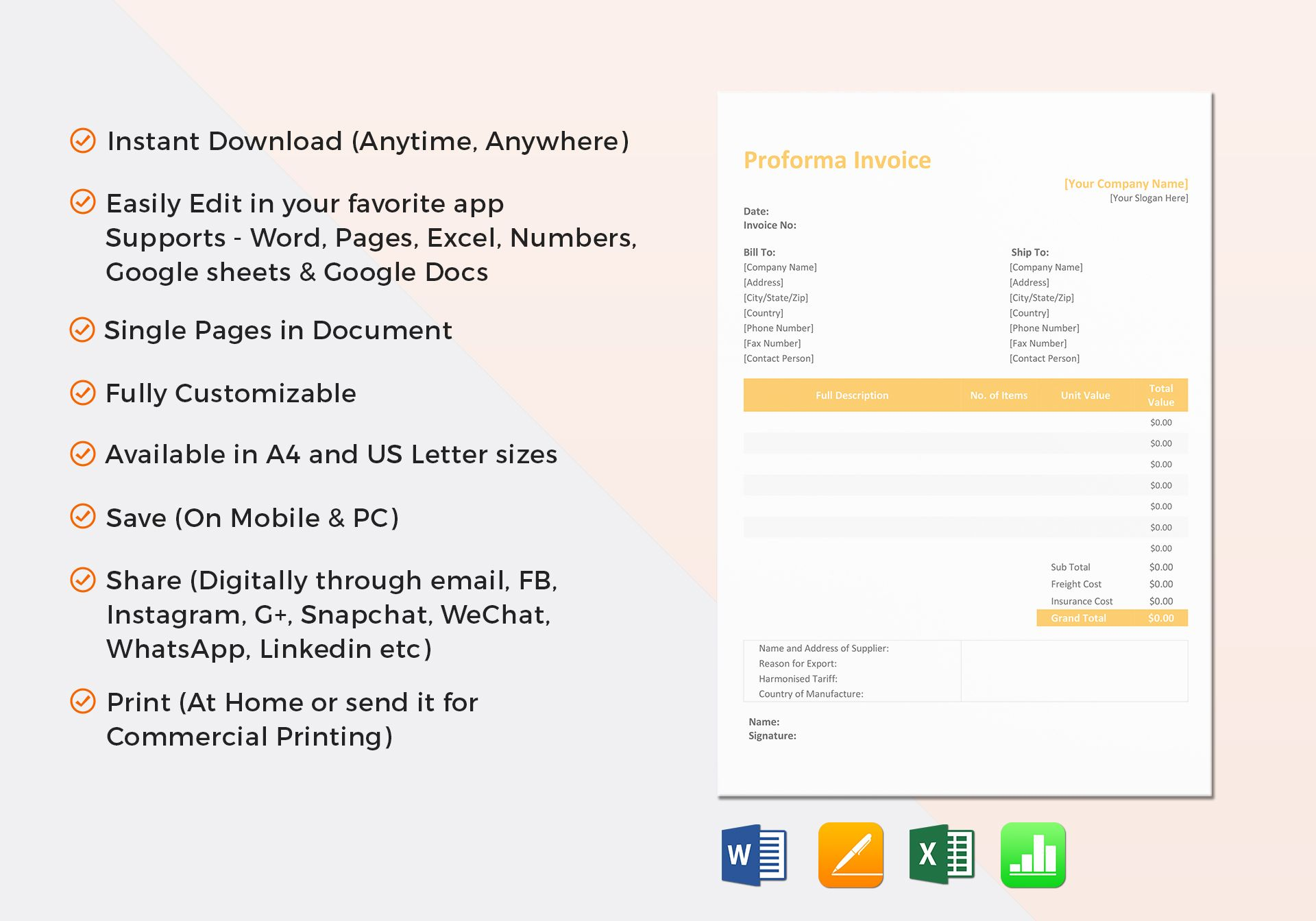 Proforma Invoice Template In Word Excel Apple Pages Numbers - What is a proforma invoice