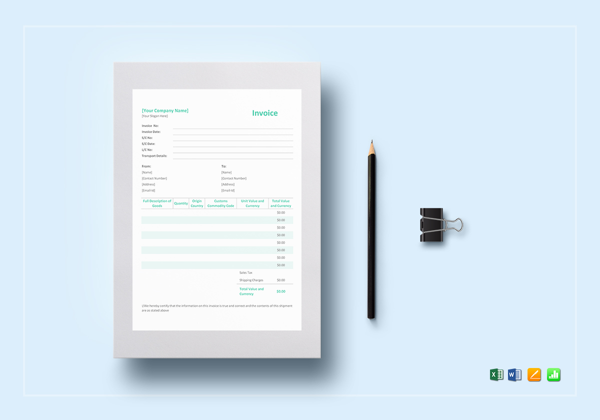 Simple Proforma Invoice Template In Word Excel Apple Pages Numbers