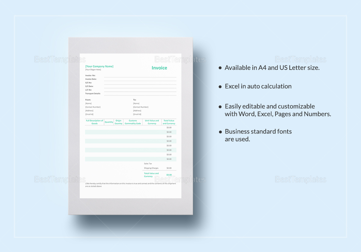Simple Proforma Invoice Template
