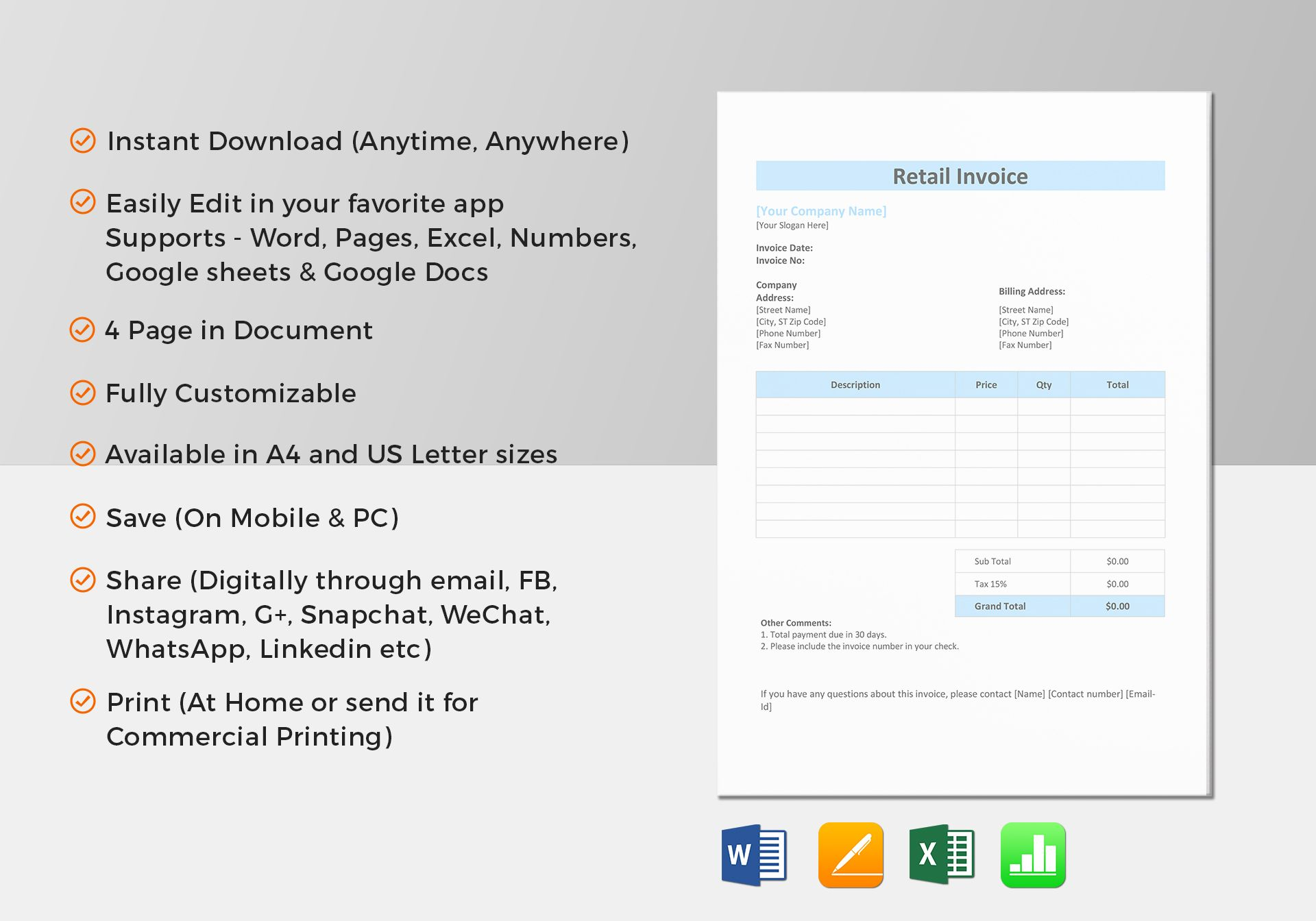 retail invoice template in word excel apple pages numbers. Black Bedroom Furniture Sets. Home Design Ideas