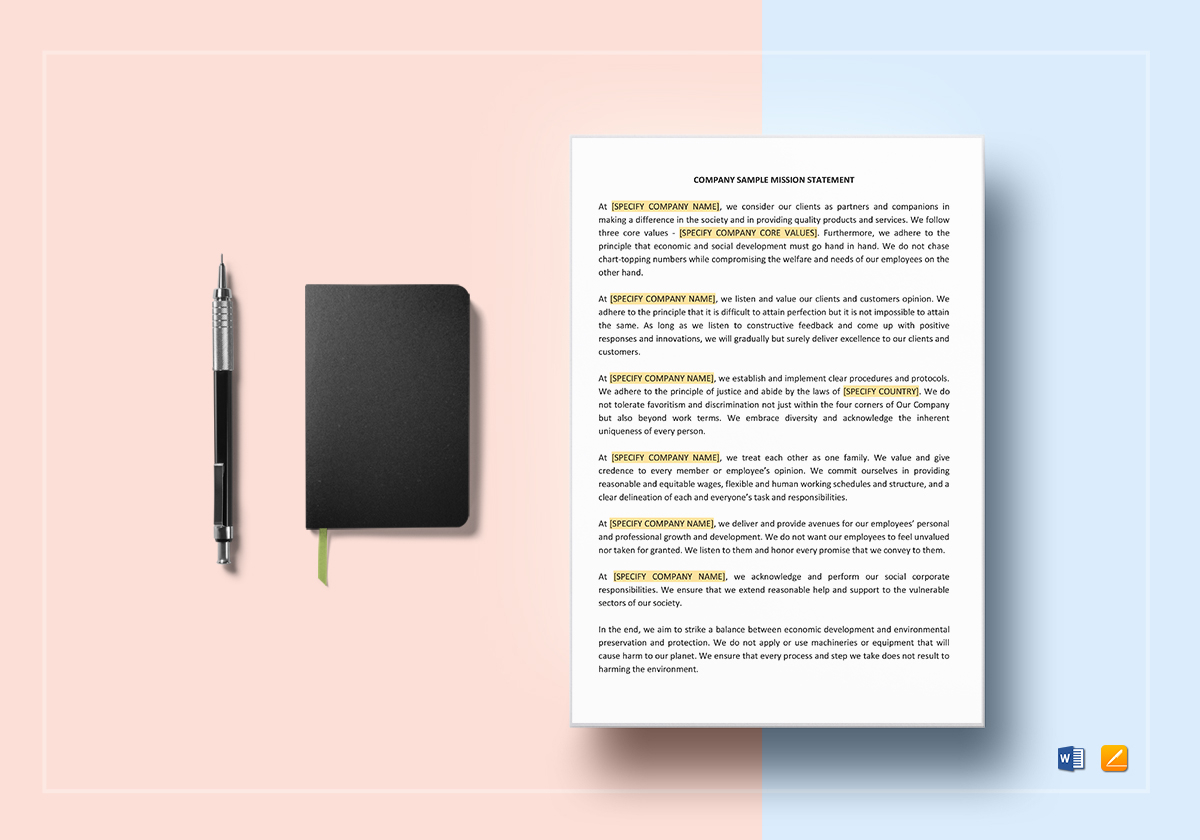 Mission Statement Template In Word Google Docs Apple Pages
