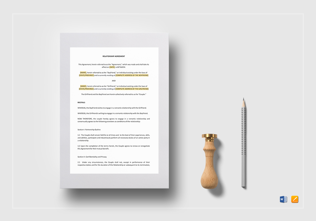 Relationship Agreement Template In Word Google Docs Apple Pages