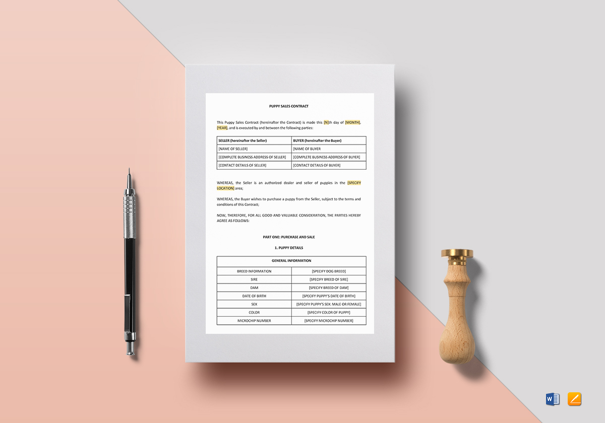 Puppy Sales Contract Template in Word, Google Docs, Apple Pages