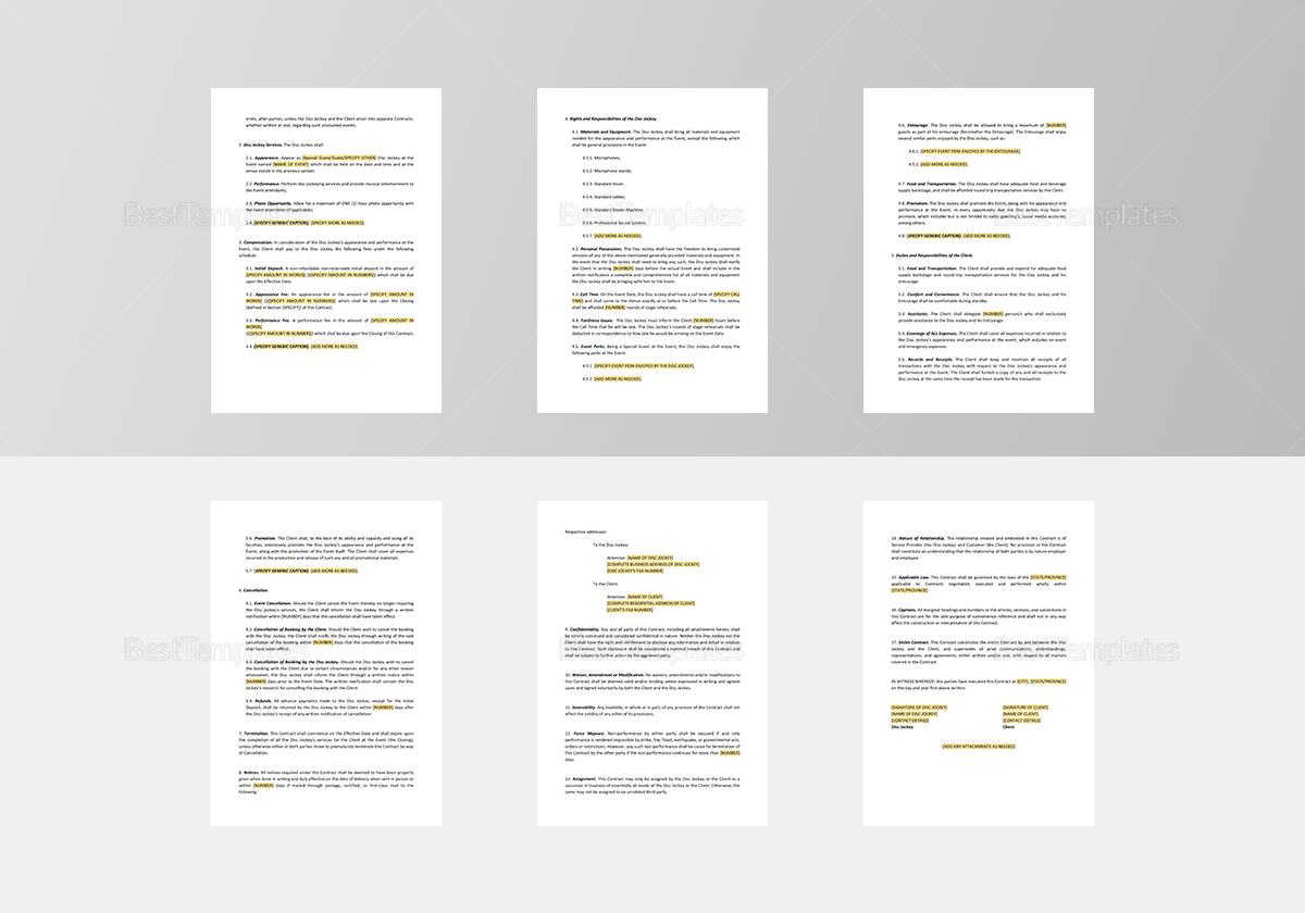 Dj Contract Template In Word Google Docs Apple Pages