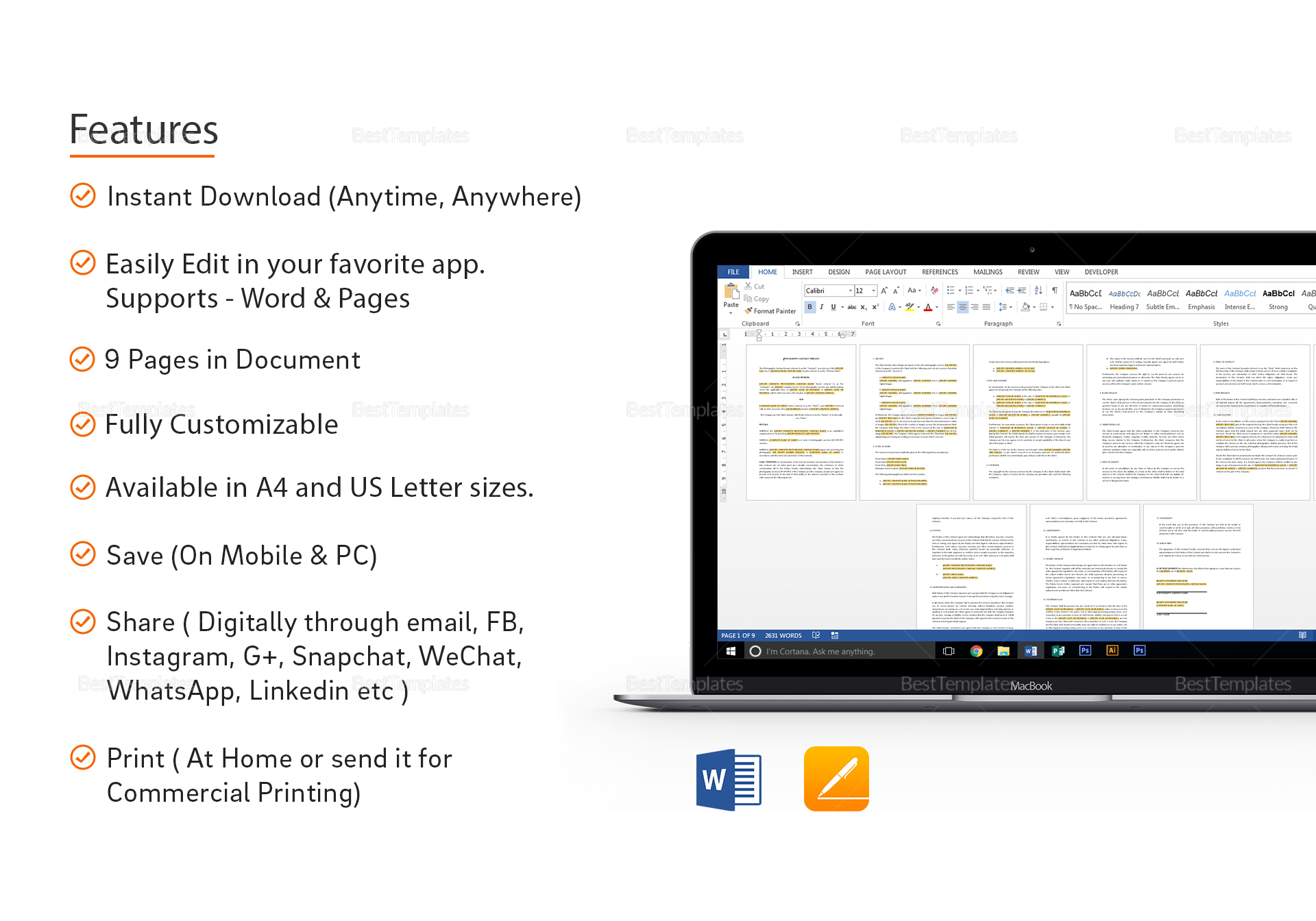 Photography Contract Template In Word Google Docs Apple Pages