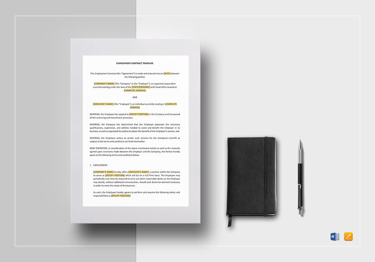 Employment Contract Template in Word, Google Docs, Apple Pages