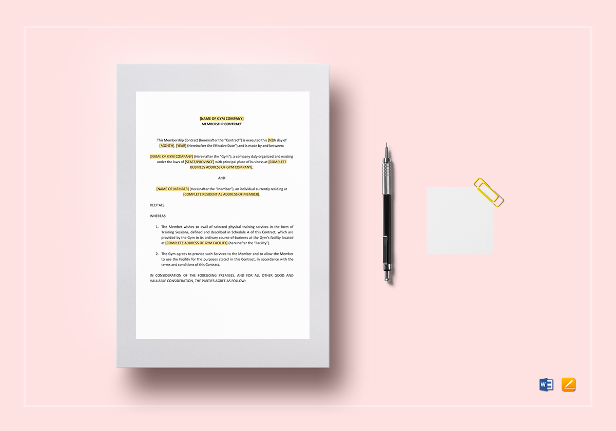 Gym Contract Template In Word Google Docs Apple Pages