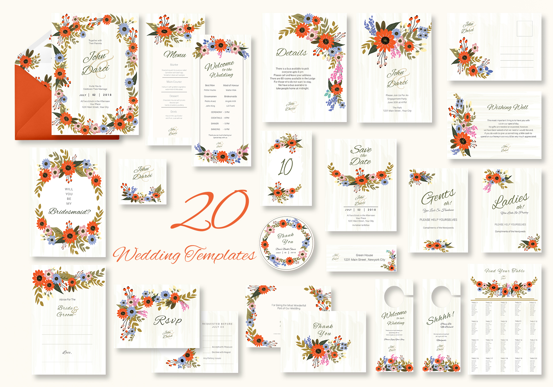 Summer Floral Wedding Templates