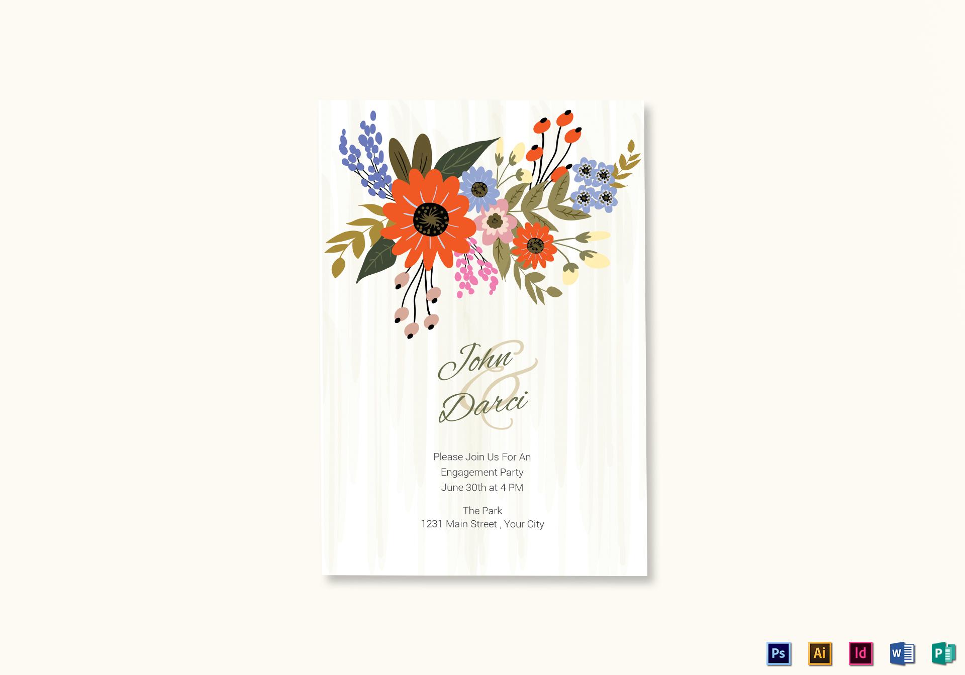 Summer Floral Engagement Announcement Card Template