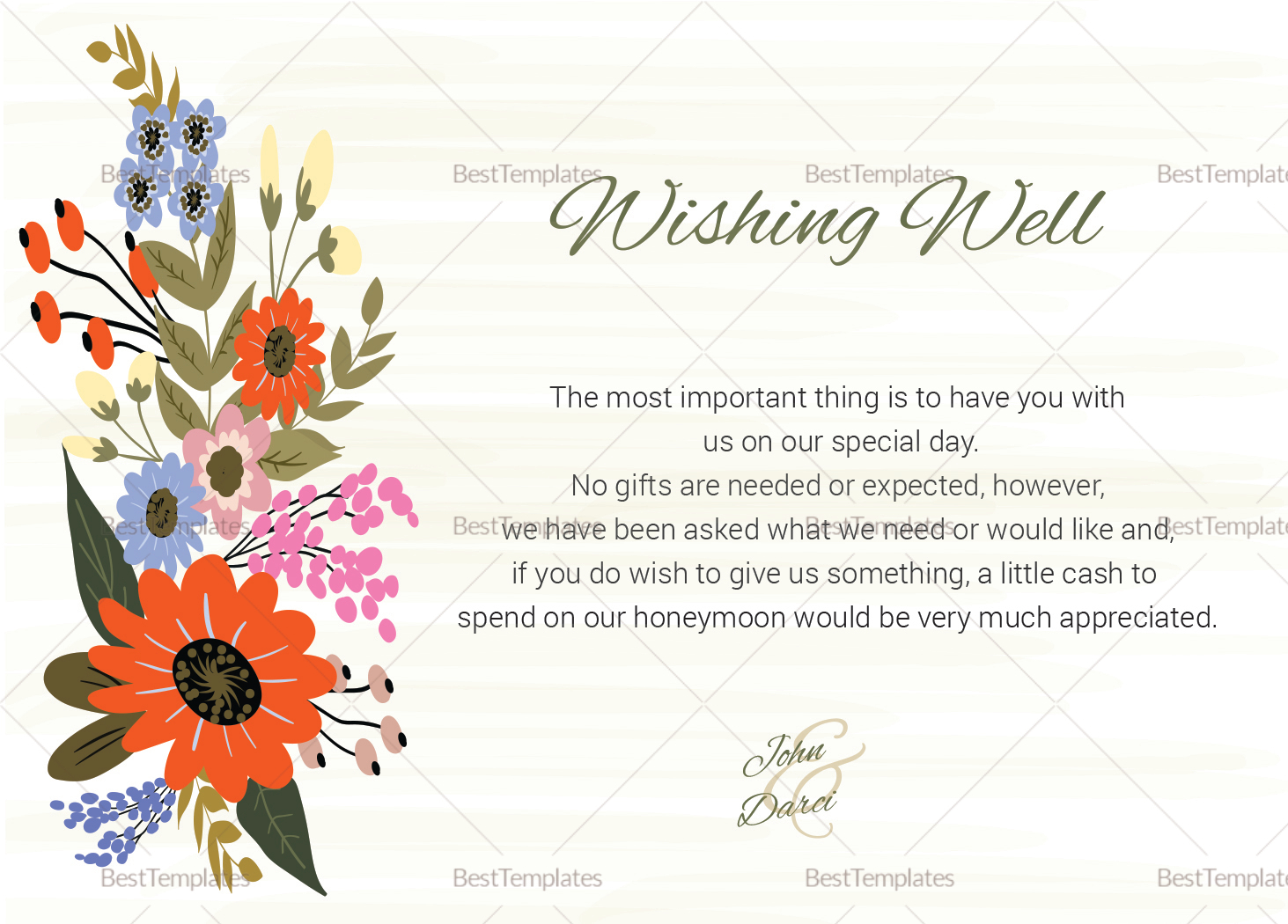Summer Floral Wishing Well Card