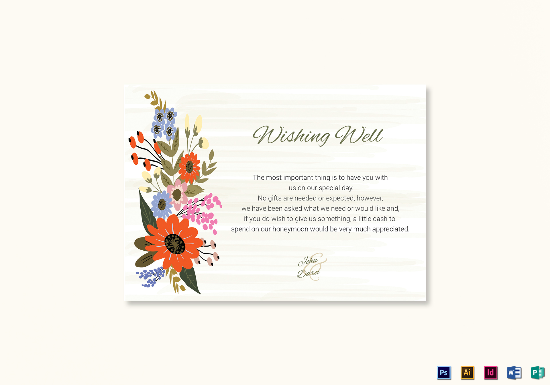 Summer Floral Wishing Well Card Template