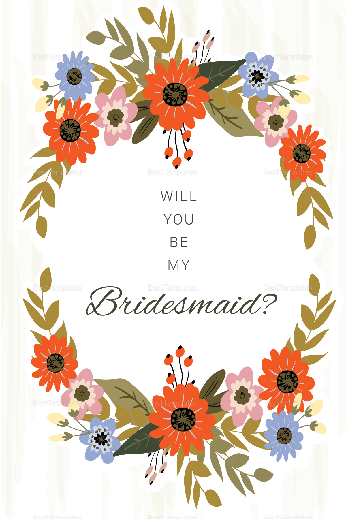Summer Floral Wedding Will You Be My Bridesmaid Card