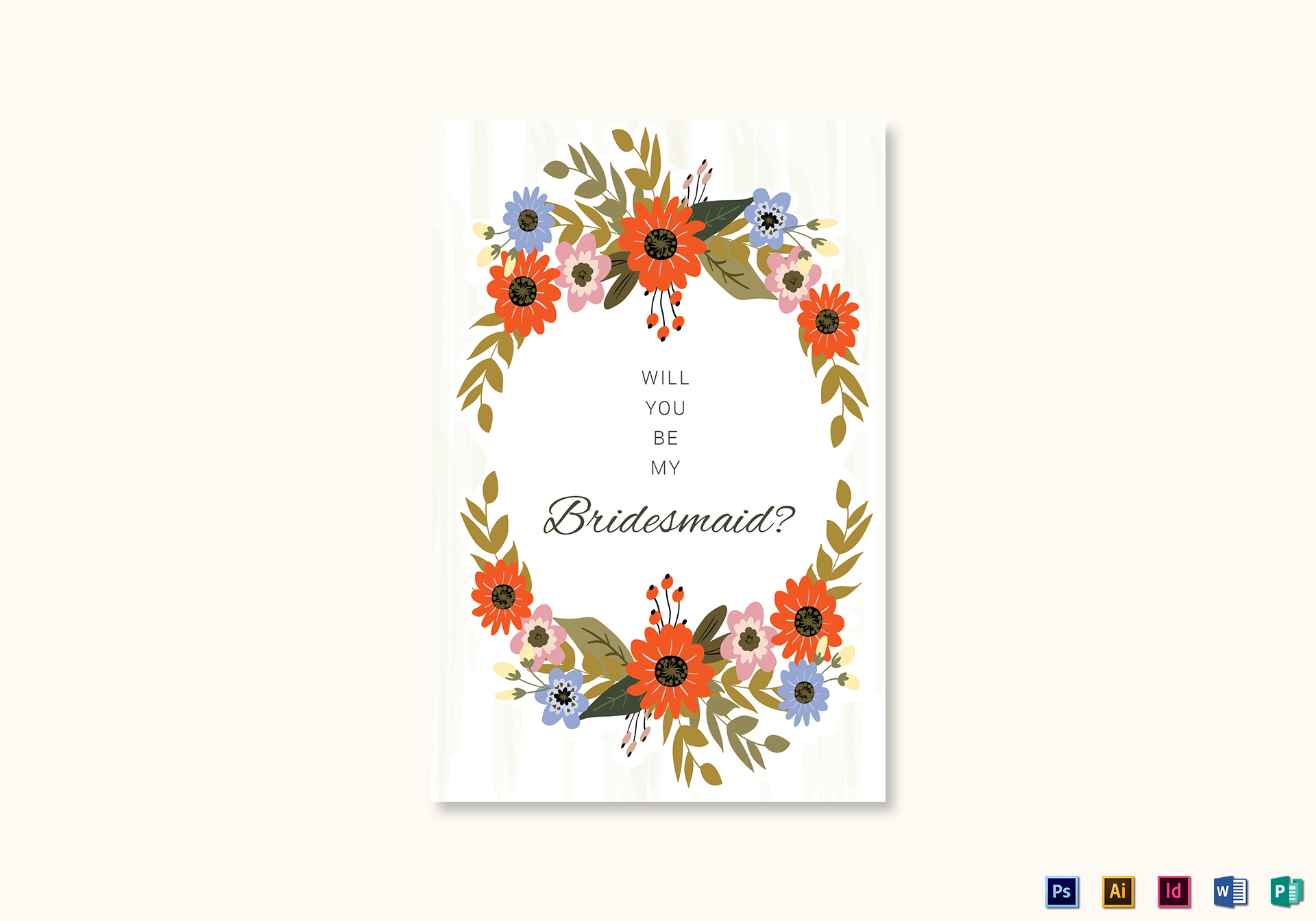 Summer Floral Wedding Will You Be My Bridesmaid Card Template