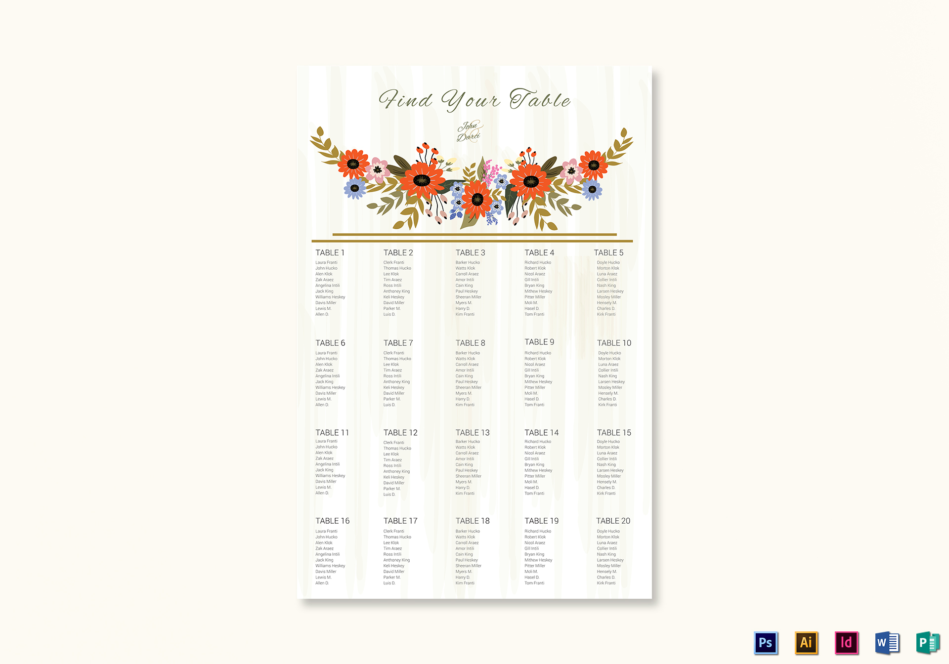 Summer Floral Wedding Seating Chart Template