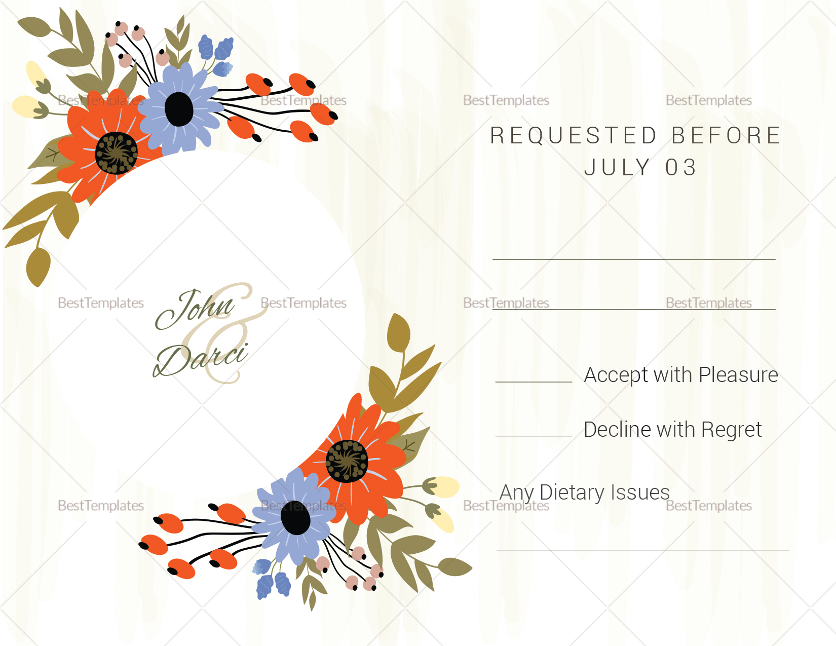 Wedding RSVP Card Design Template