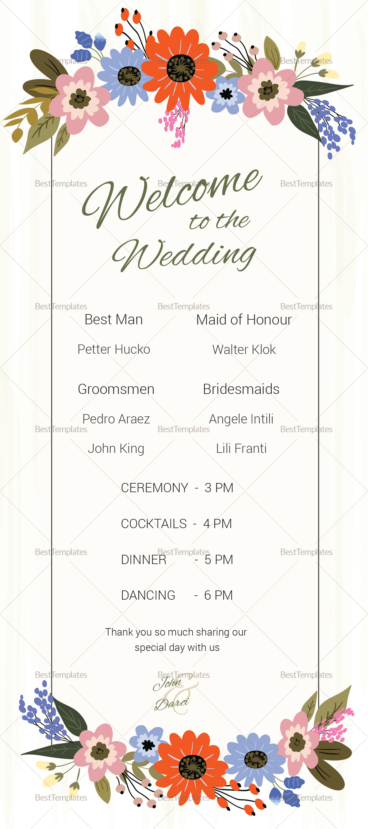 Summer Floral Wedding Program Card