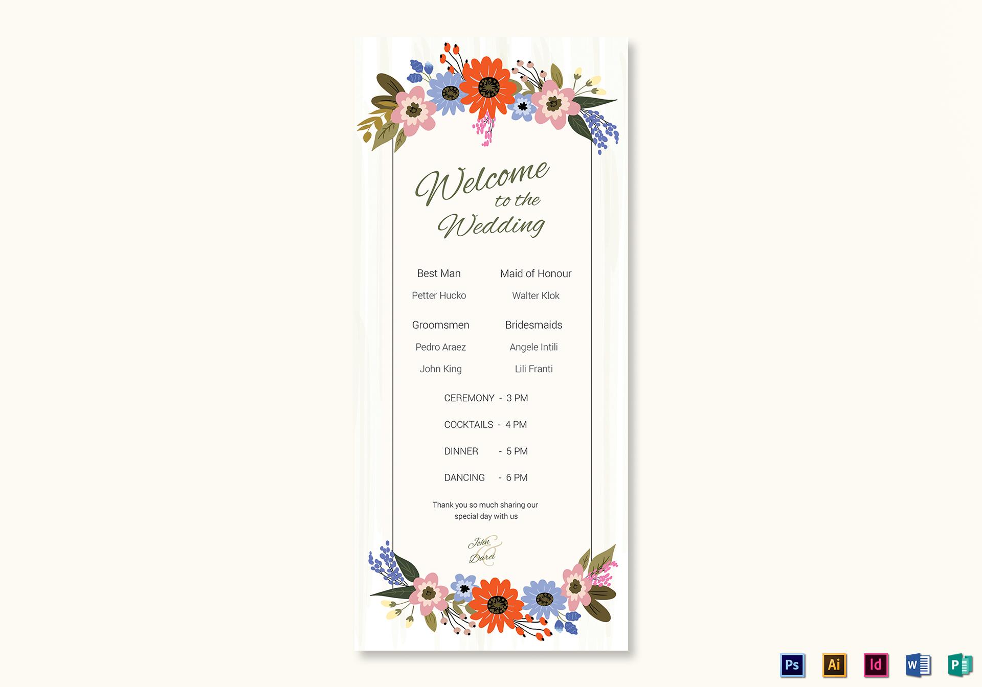 Summer Floral Wedding Program Card Template