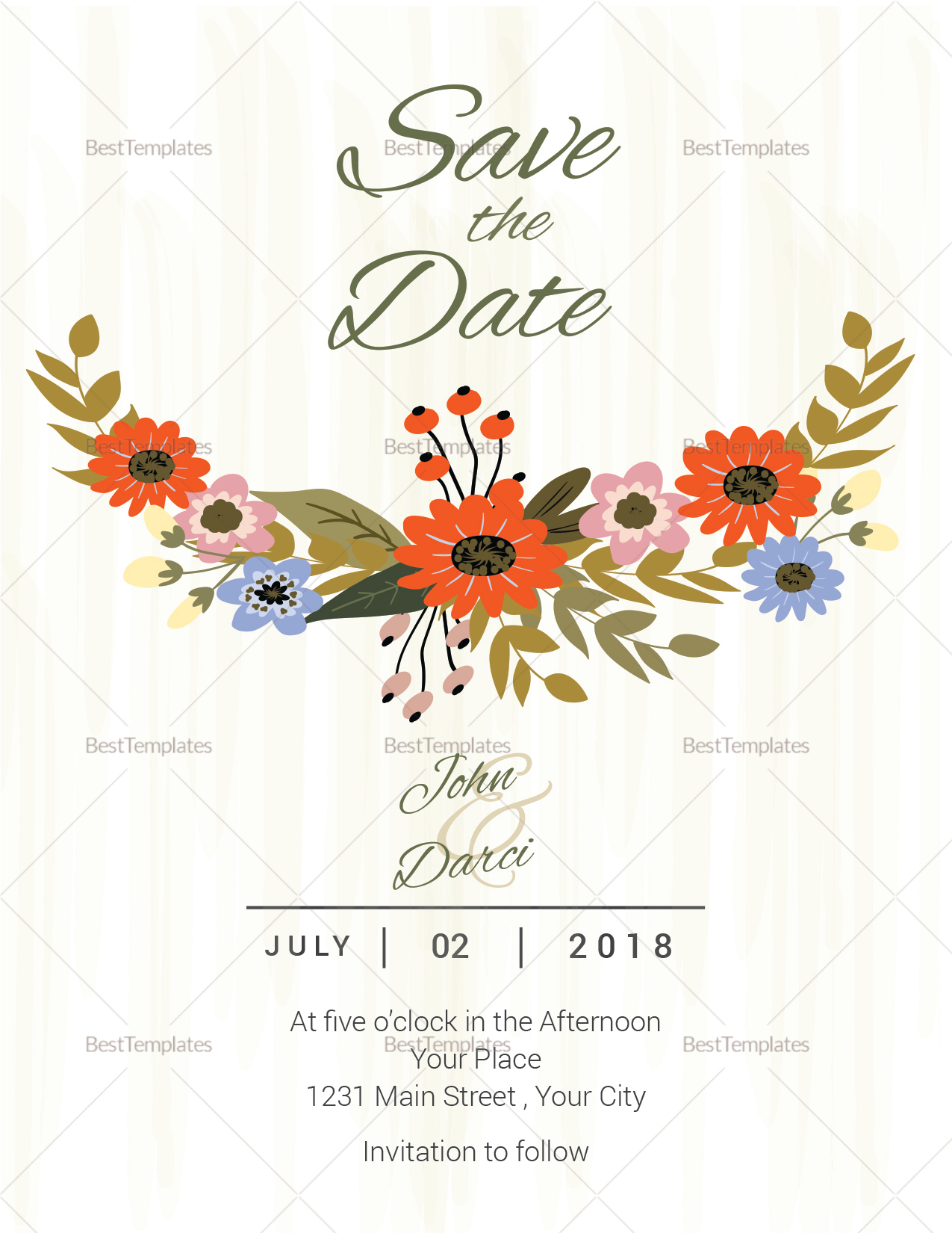 Summer floral save the date card template in illustrator for Publisher save the date templates