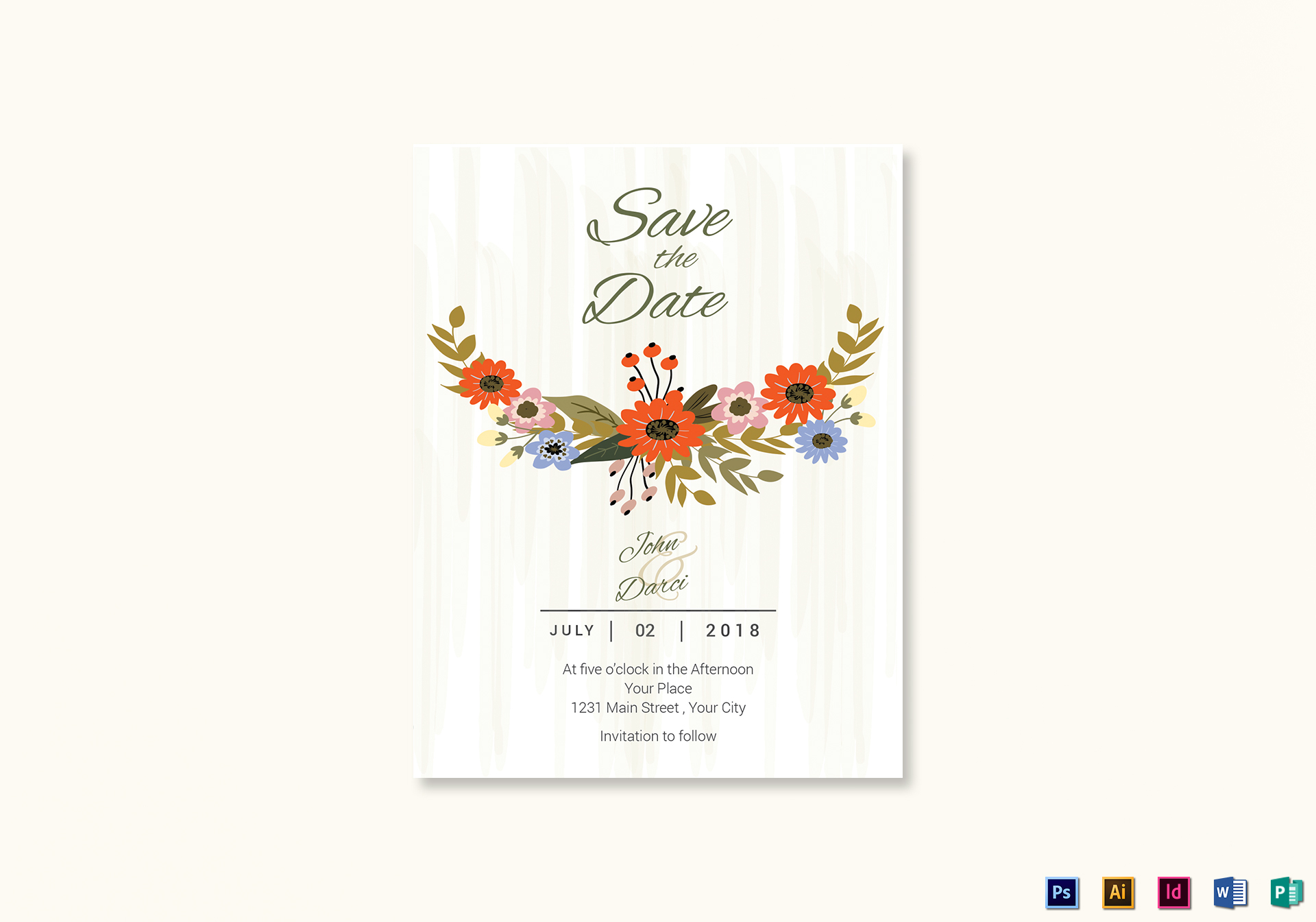 summer floral save the date card template in illustrator indesign