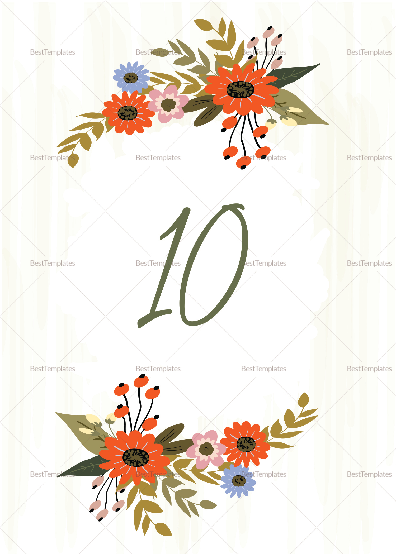 Wedding Table Card Design Template
