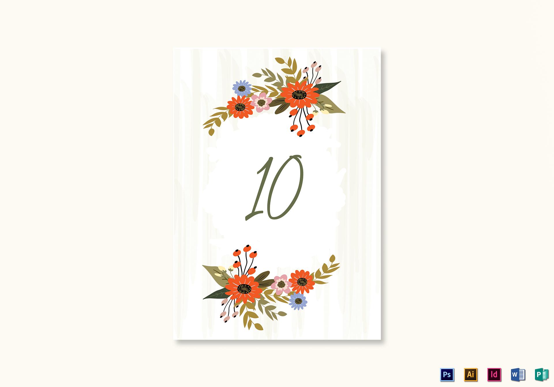 Wedding Table Card Template