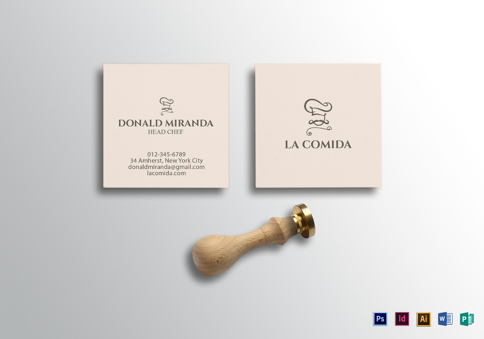 Square Business Card Design Template In PSD Word Publisher - Square business card template