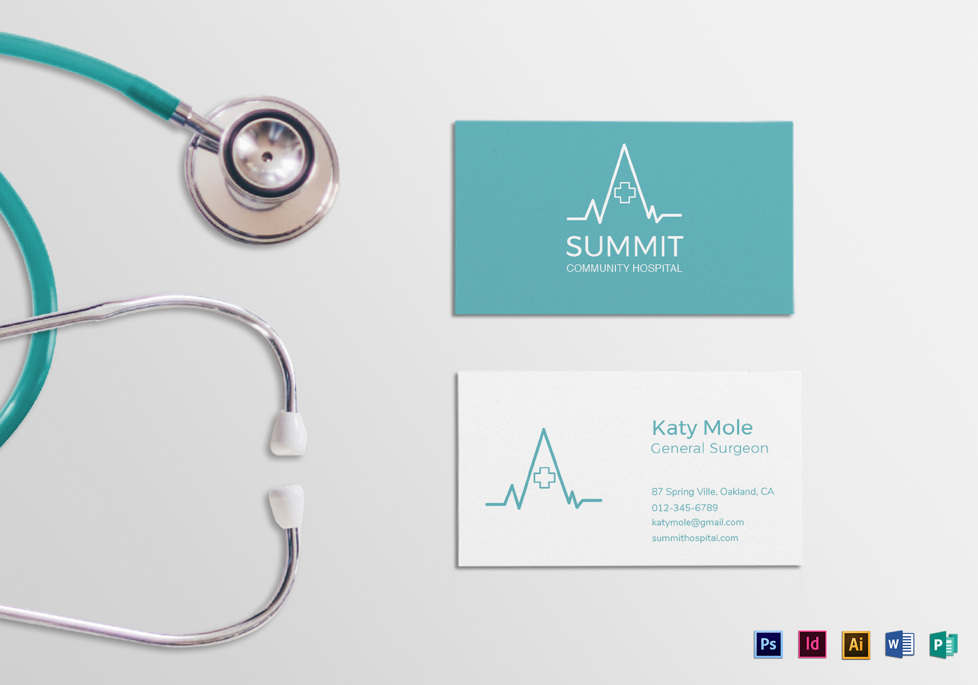 Medical business card design template in psd word publisher medical business card t reheart Gallery