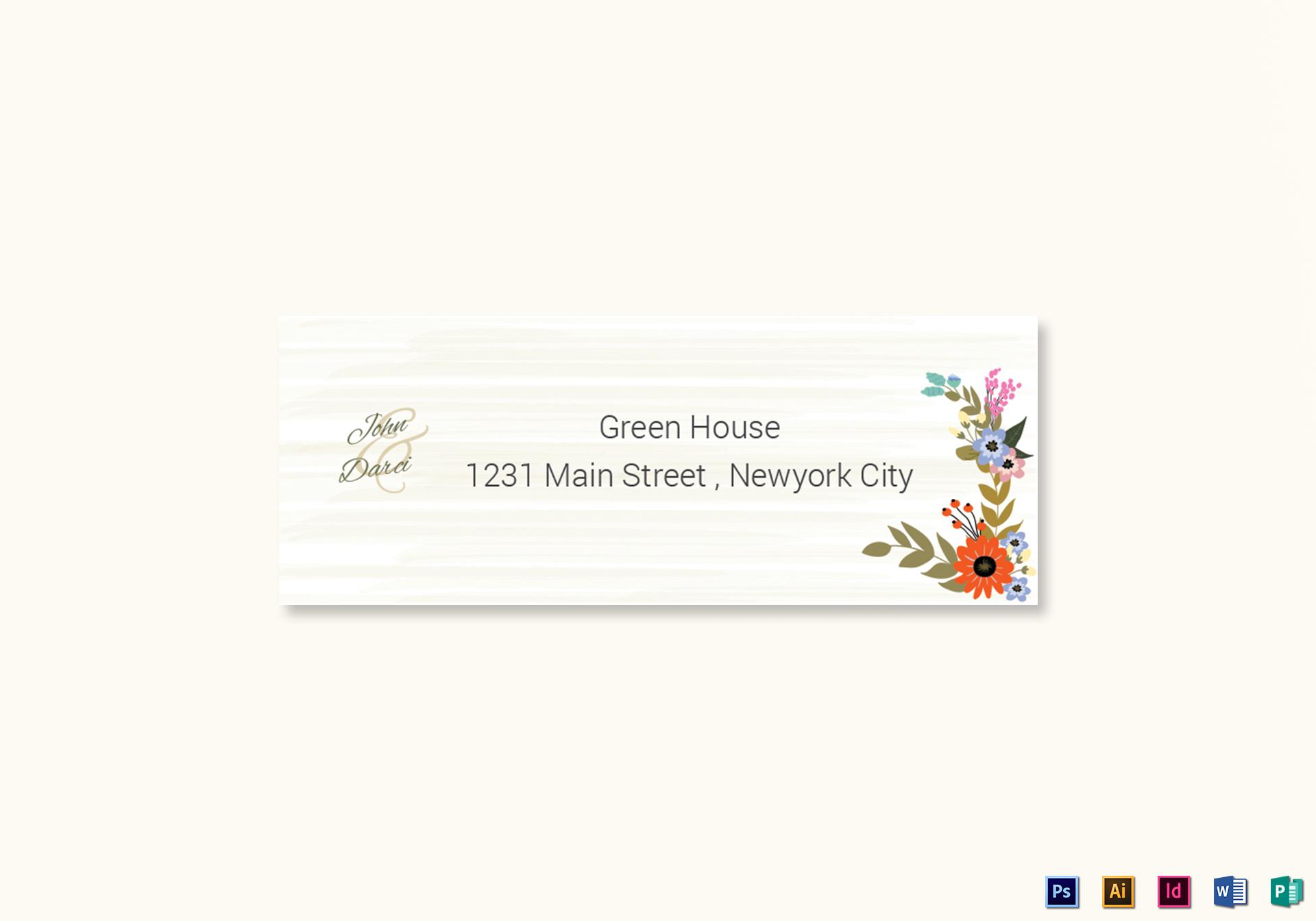 Summer Floral Wedding Address Labels Card Template