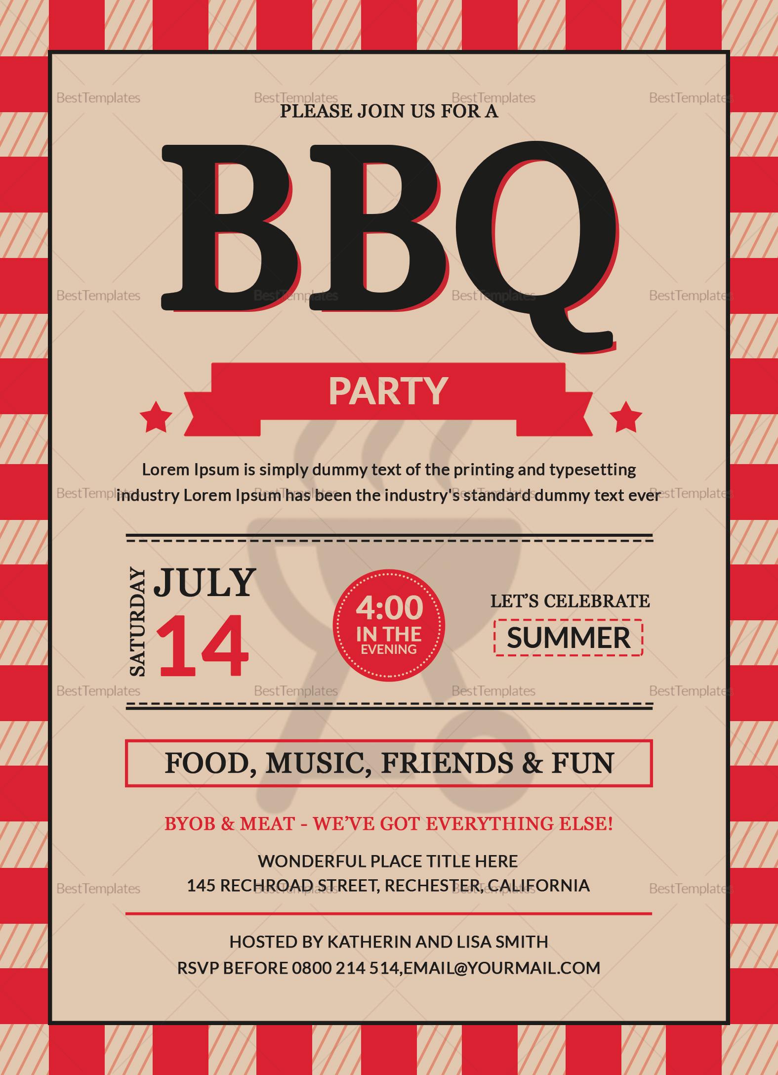 BBQ Party Invitation Card Design Template