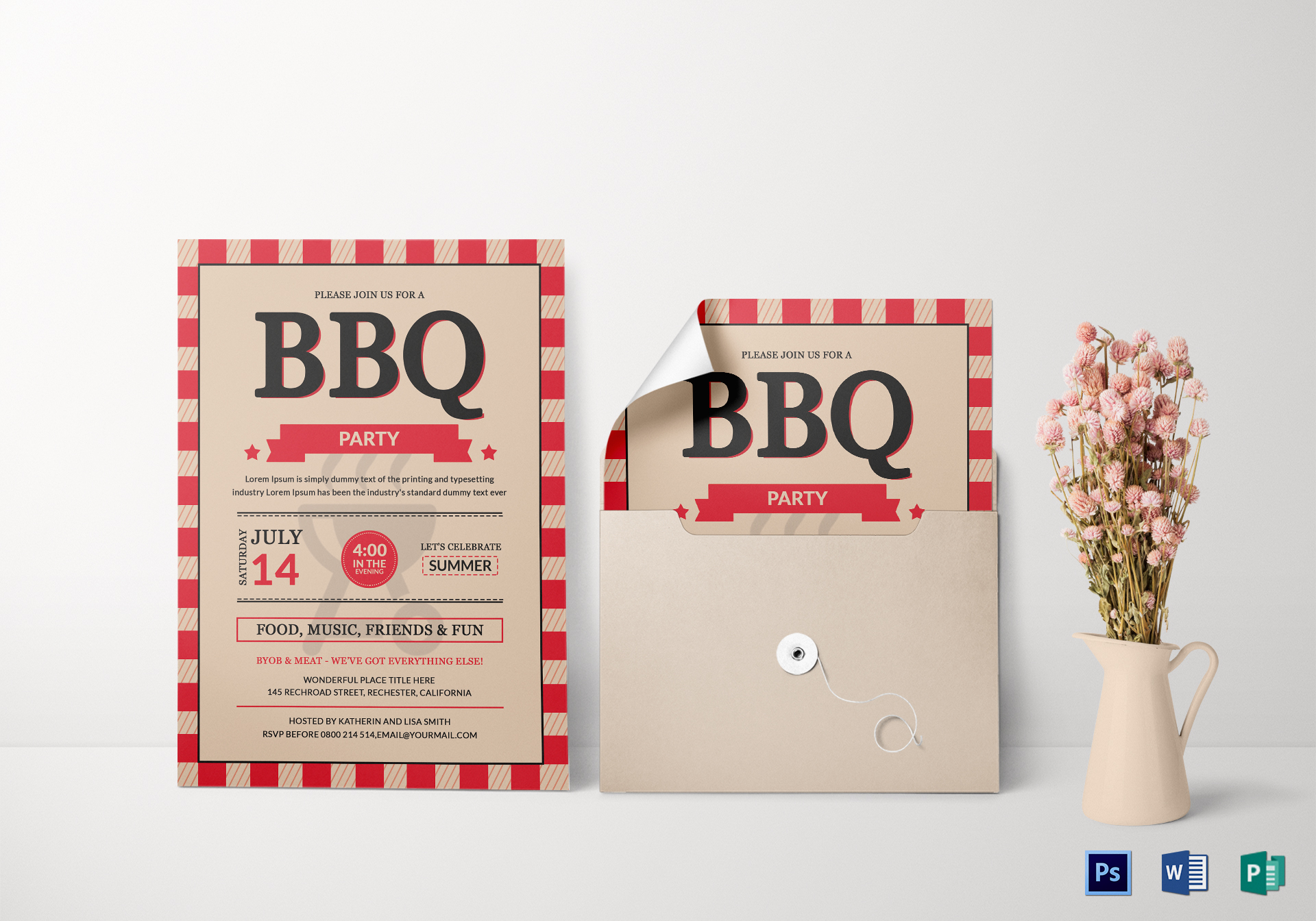 bbq party invitation card design template in word psd publisher