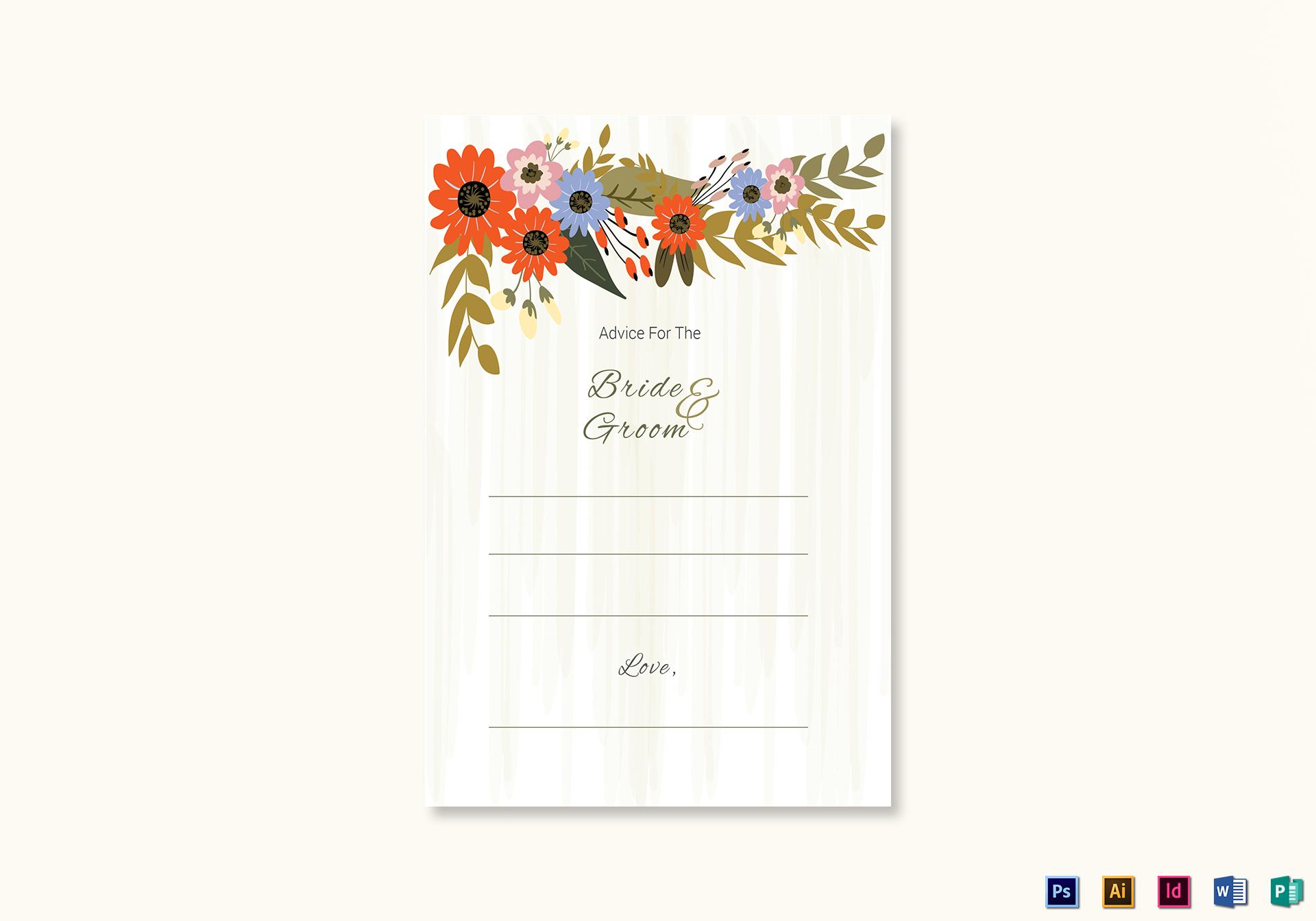 Summer Floral Wedding Advice Card Template