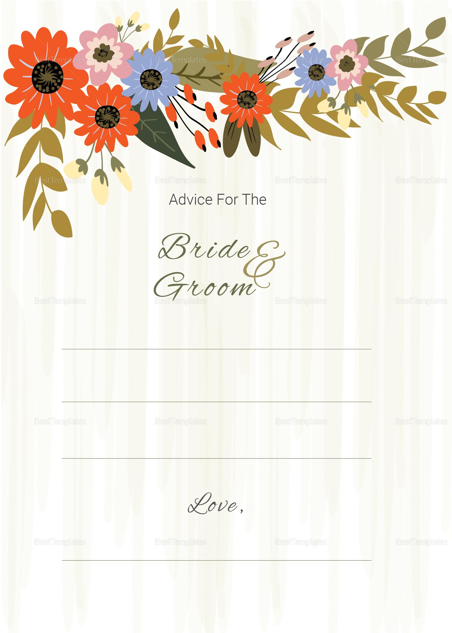 Summer Floral Wedding Advice Card Design Template