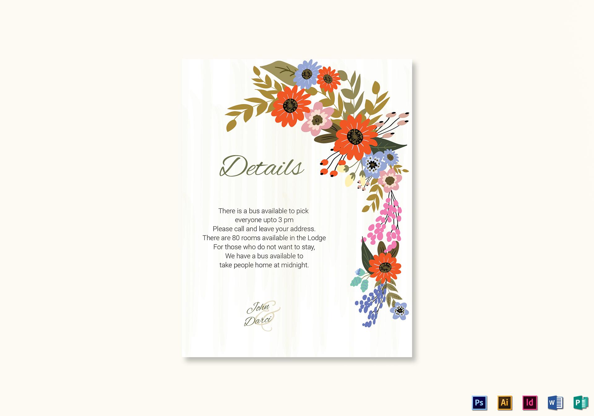 Summer Floral Wedding Details Card Design Template In Illustrator