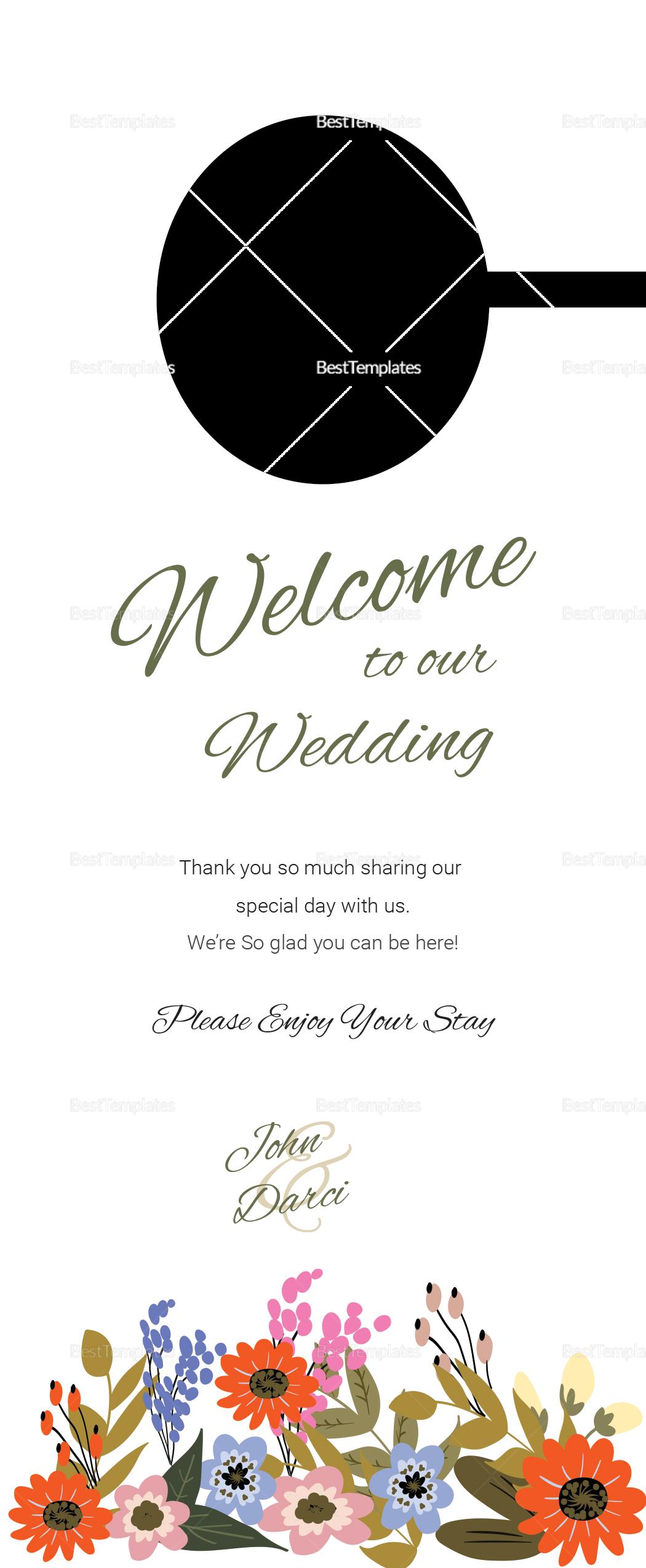 Summer Floral Wedding Door Hanger Card Template