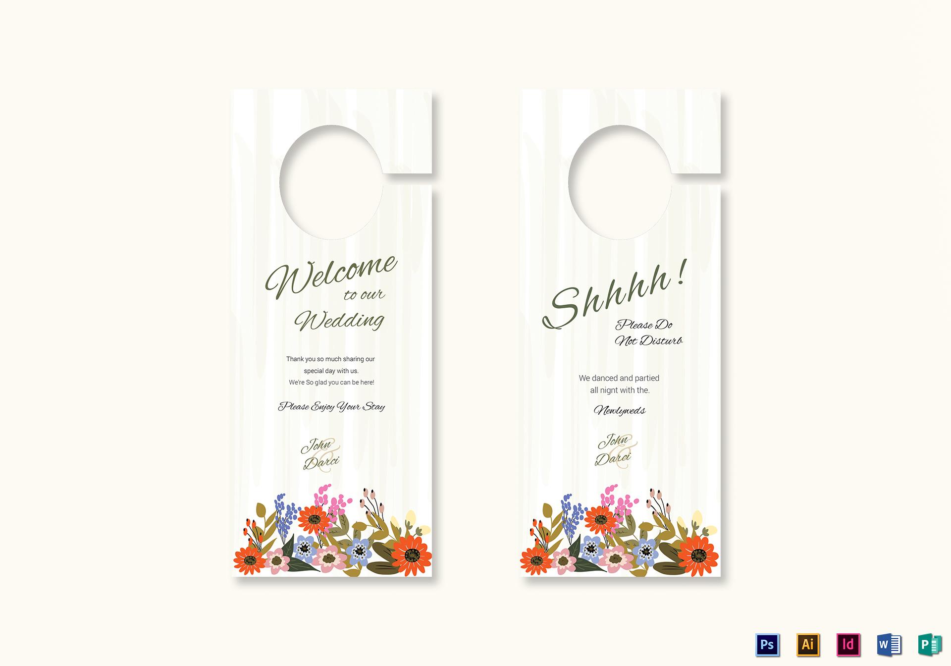 summer floral wedding door hanger card design template in