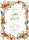 Summer Floral Wedding Invitation Card Design Template