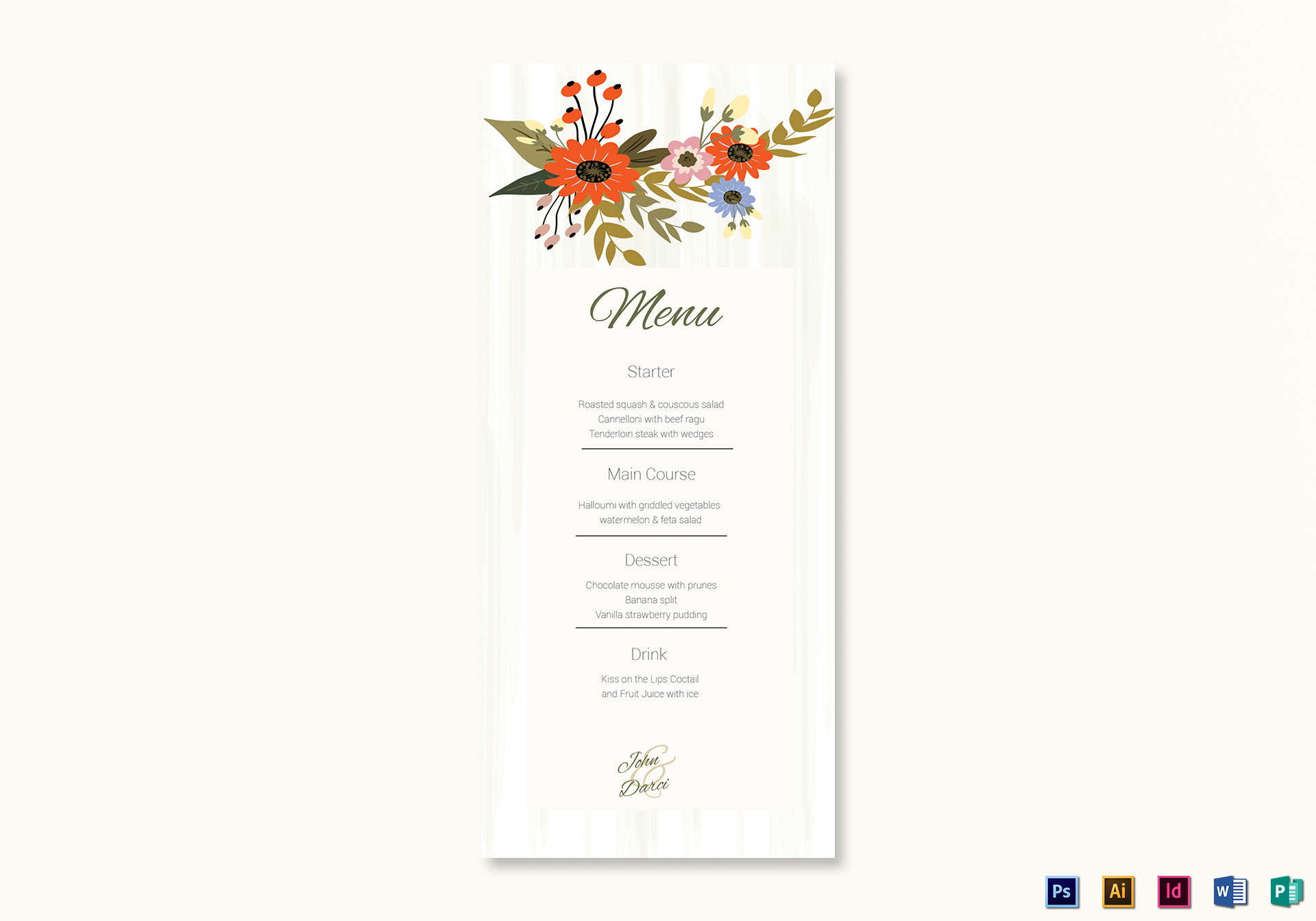 Summer Floral Wedding Menu Card Template