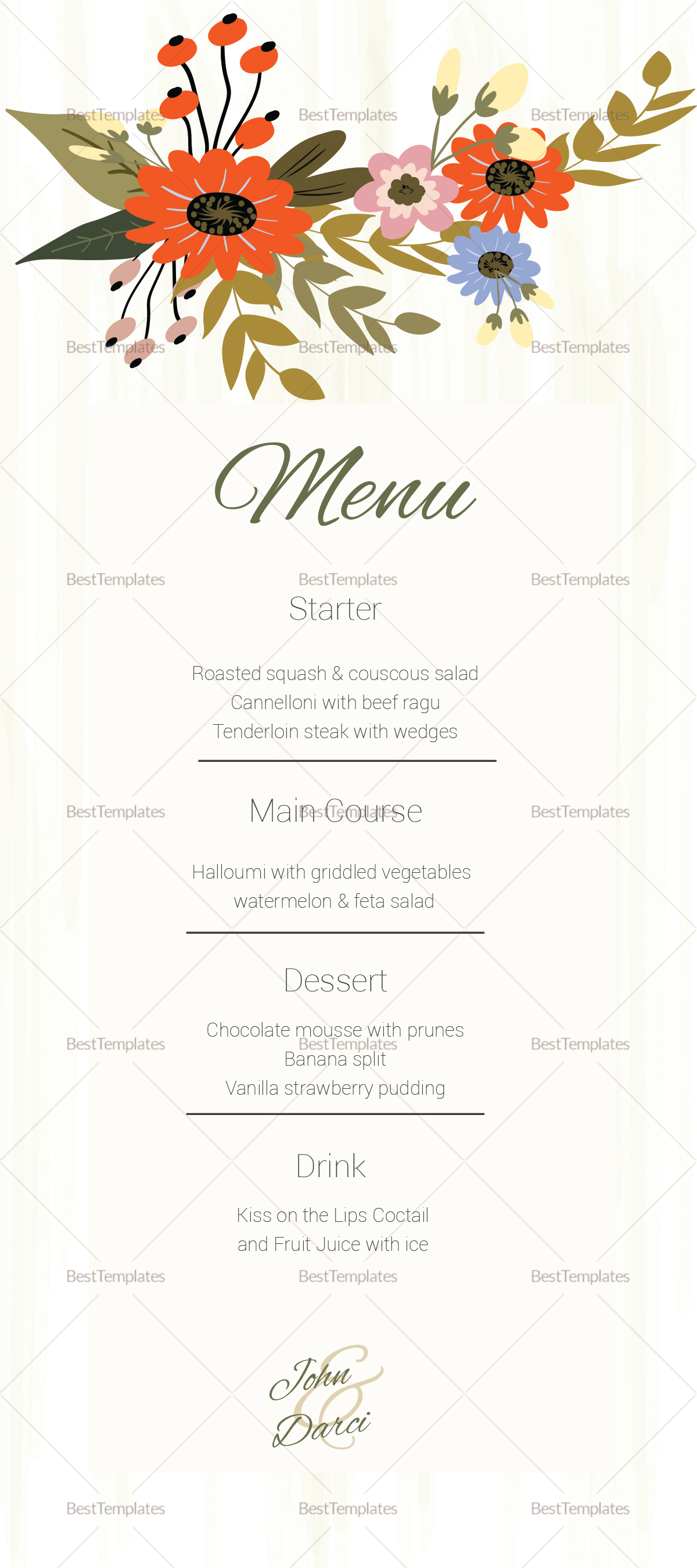 Summer Floral Wedding Menu Card Design Template