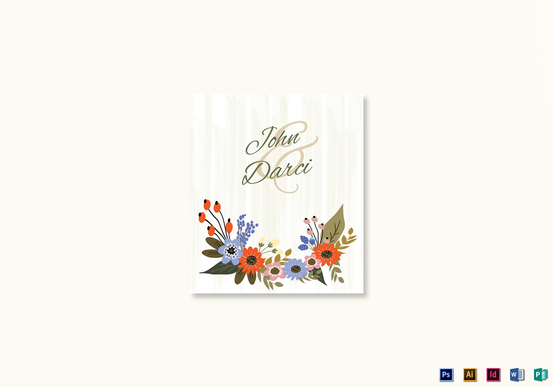 Summer Floral Wedding Place Card Design Template in Illustrator ...