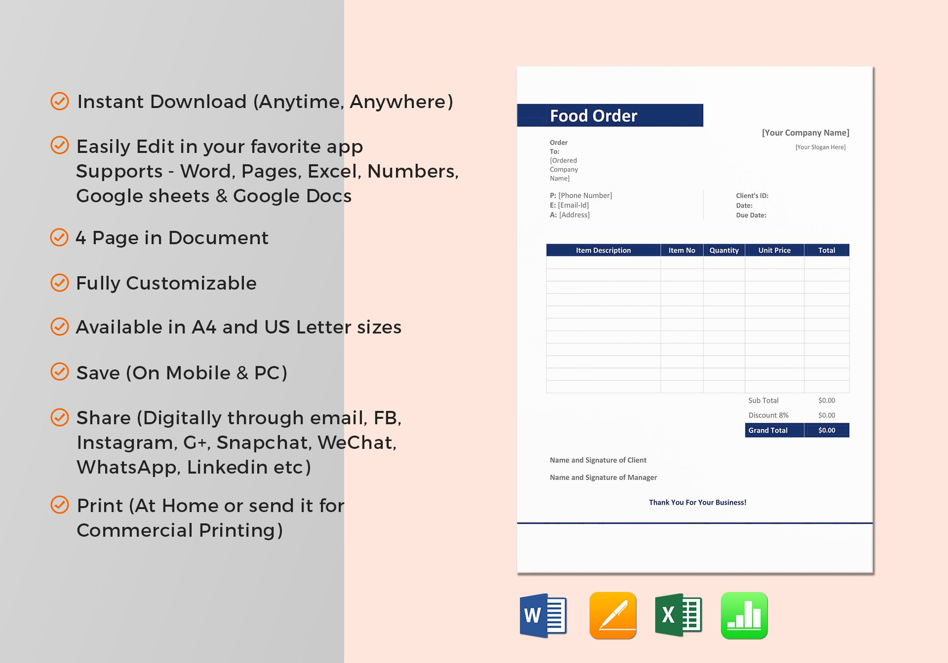 Sample Food Order Template