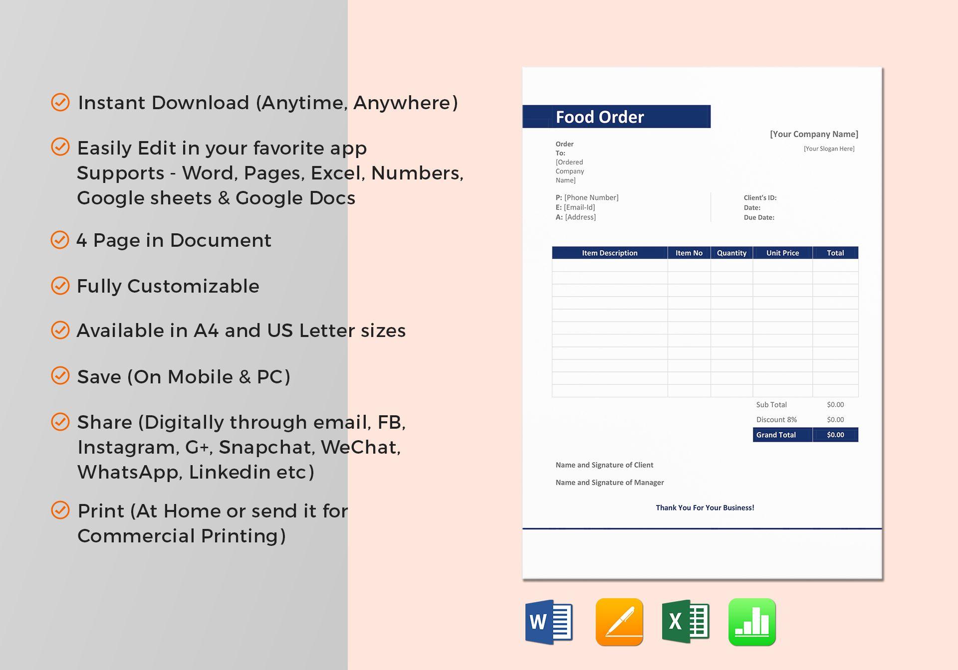sample food order template